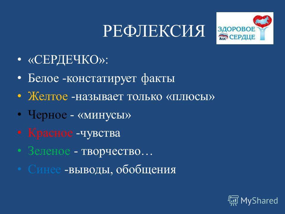 РЕФЛЕКСИЯ «СЕРДЕЧКО»: Белое -констатирует факты Желтое -называет только «плюсы» Черное - «минусы» Красное -чувства Зеленое - творчество… Синее -выводы, обобщения