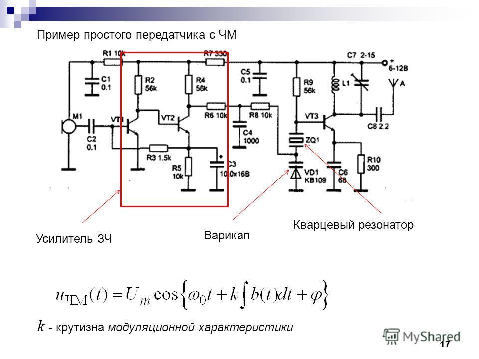 17 Кварцевый резонатор Пример простого передатчика с ЧМ k - крутизна модуляционной характеристики Усилитель ЗЧ Варикап
