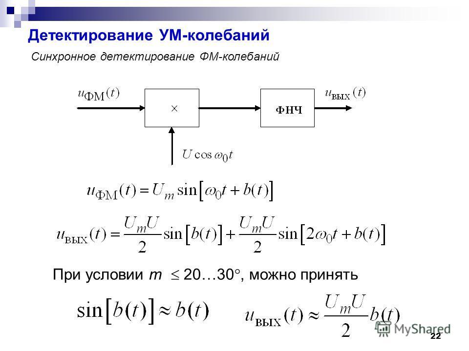 Детектирование УМ-колебаний 22 Синхронное детектирование ФМ-колебаний При условии m 20…30°, можно принять