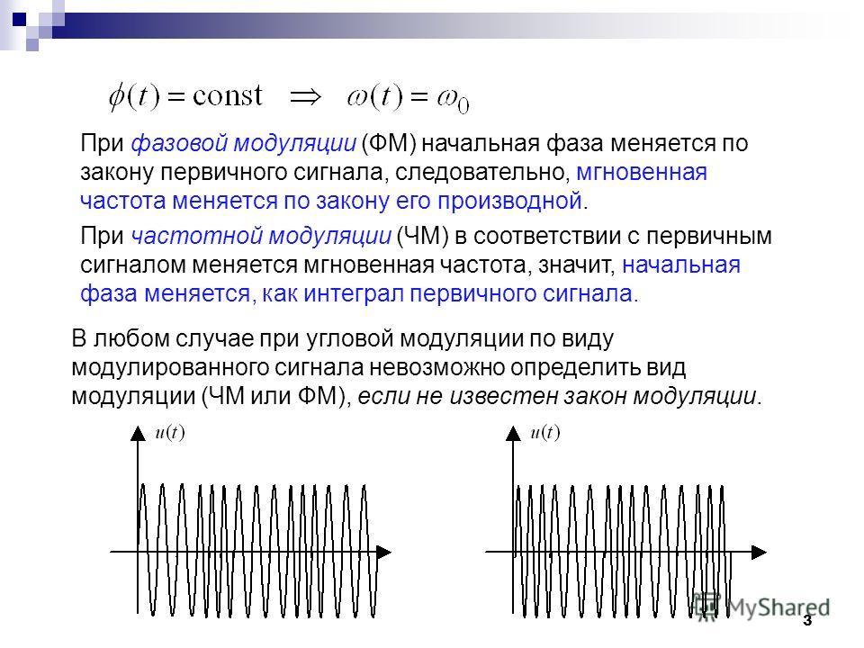 3 В любом случае при угловой модуляции по виду модулированного сигнала невозможно определить вид модуляции (ЧМ или ФМ), если не известен закон модуляции. При фазовой модуляции (ФМ) начальная фаза меняется по закону первичного сигнала, следовательно,