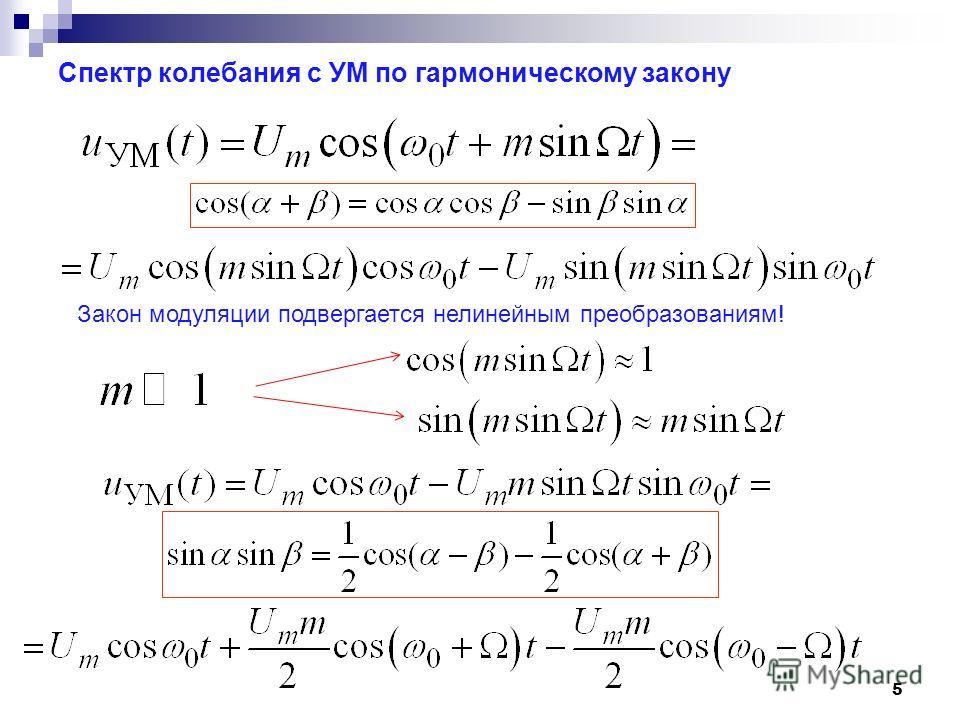 Спектр колебания с УМ по гармоническому закону 5 Закон модуляции подвергается нелинейным преобразованиям!