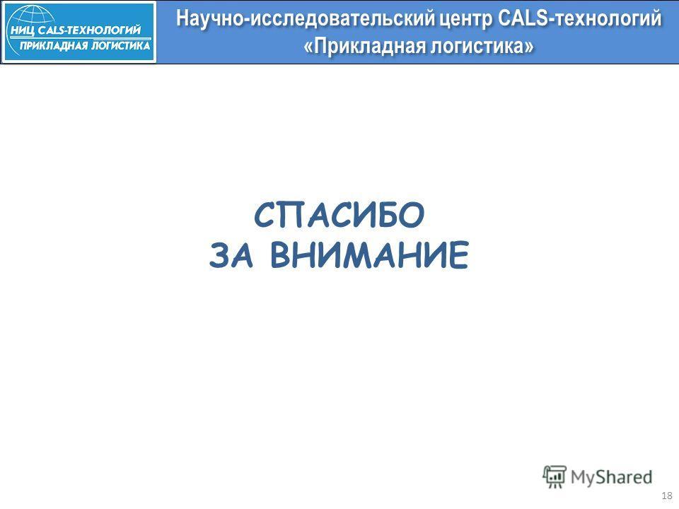СПАСИБО ЗА ВНИМАНИЕ 18 Научно-исследовательский центр CALS-технологий «Прикладная логистика»