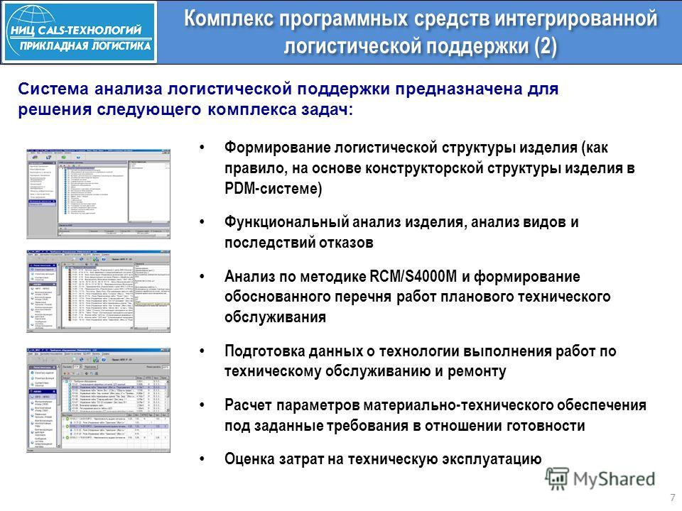 7 Комплекс программных средств интегрированной логистической поддержки (2) Формирование логистической структуры изделия (как правило, на основе конструкторской структуры изделия в PDM-системе) Функциональный анализ изделия, анализ видов и последствий