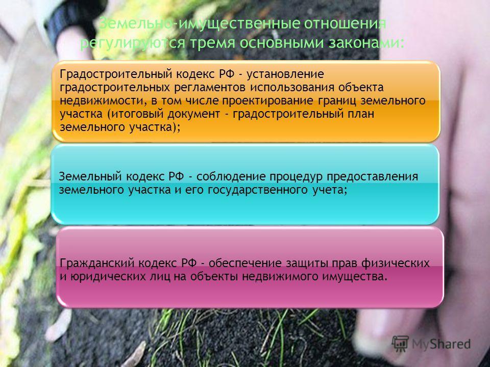 Земельный кодекс РФ - соблюдение процедур предоставления земельного участка и его государственного учета; Гражданский кодекс РФ - обеспечение защиты прав физических и юридических лиц на объекты недвижимого имущества. Градостроительный кодекс РФ - уст