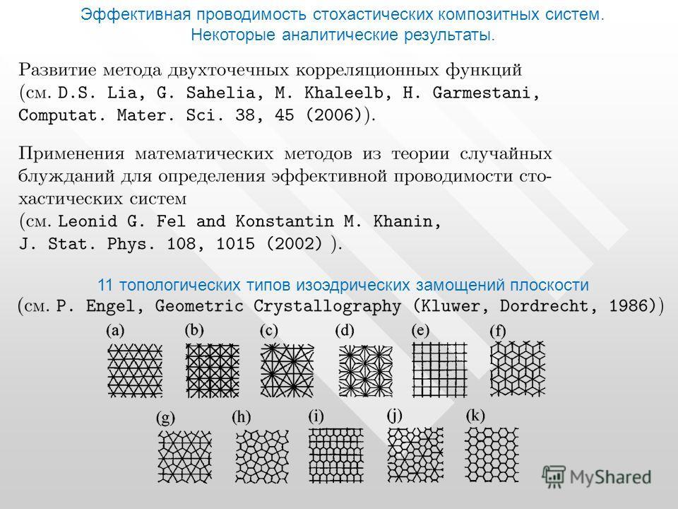 Эффективная проводимость стохастических композитных систем. Некоторые аналитические результаты. 11 топологических типов изоэдрических замощений плоскости
