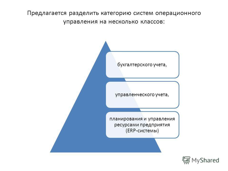 Предлагается разделить категорию систем операционного управления на несколько классов: бухгалтерского учета,управленческого учета, планирования и управления ресурсами предприятия (ERP-системы)
