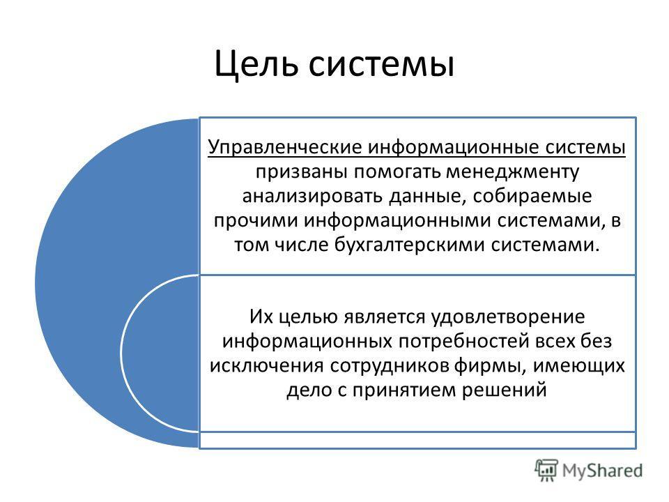Цель системы Управленческие информационные системы призваны помогать менеджменту анализировать данные, собираемые прочими информационными системами, в том числе бухгалтерскими системами. Их целью является удовлетворение информационных потребностей вс