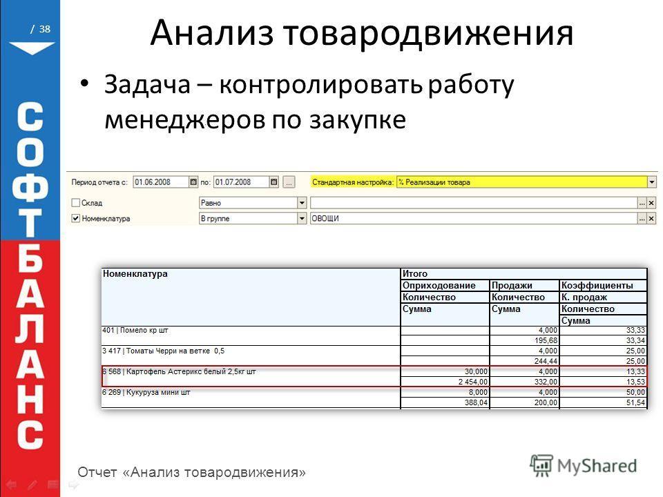 / 38 Анализ товародвижения Задача – контролировать работу менеджеров по закупке Отчет «Анализ товародвижения»