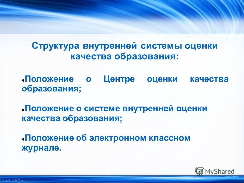 http://linda6035.ucoz.ru/ Структура внутренней системы оценки качества образования: Положение о Центре оценки качества образования; Положение о системе внутренней оценки качества образования; Положение об электронном классном журнале.
