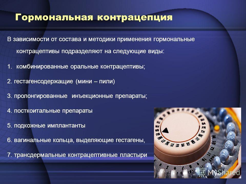 Гормональная контрацепция В зависимости от состава и методики применения гормональные контрацептивы подразделяют на следующие виды: 1. комбинированные оральные контрацептивы; 2. гестагенсодержащие (мини – пили) 3. пролонгированные инъекционные препар