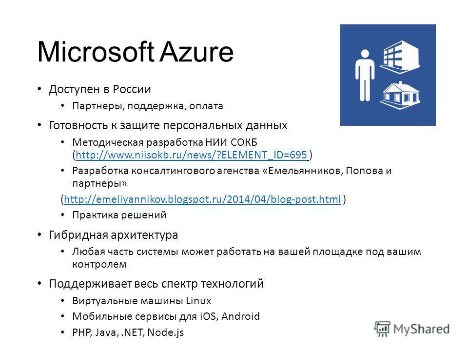 Microsoft Azure Доступен в России Партнеры, поддержка, оплата Готовность к защите персональных данных Методическая разработка НИИ СОКБ (http://www.niisokb.ru/news/?ELEMENT_ID=695 )http://www.niisokb.ru/news/?ELEMENT_ID=695 Разработка консалтингового