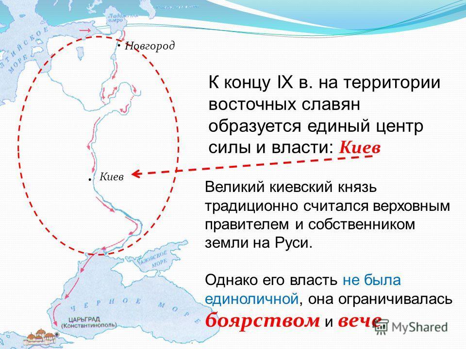 Новгород Киев К концу IX в. на территории восточных славян образуется единый центр силы и власти: Киев Великий киевский князь традиционно считался верховным правителем и собственником земли на Руси. Однако его власть не была единоличной, она ограничи