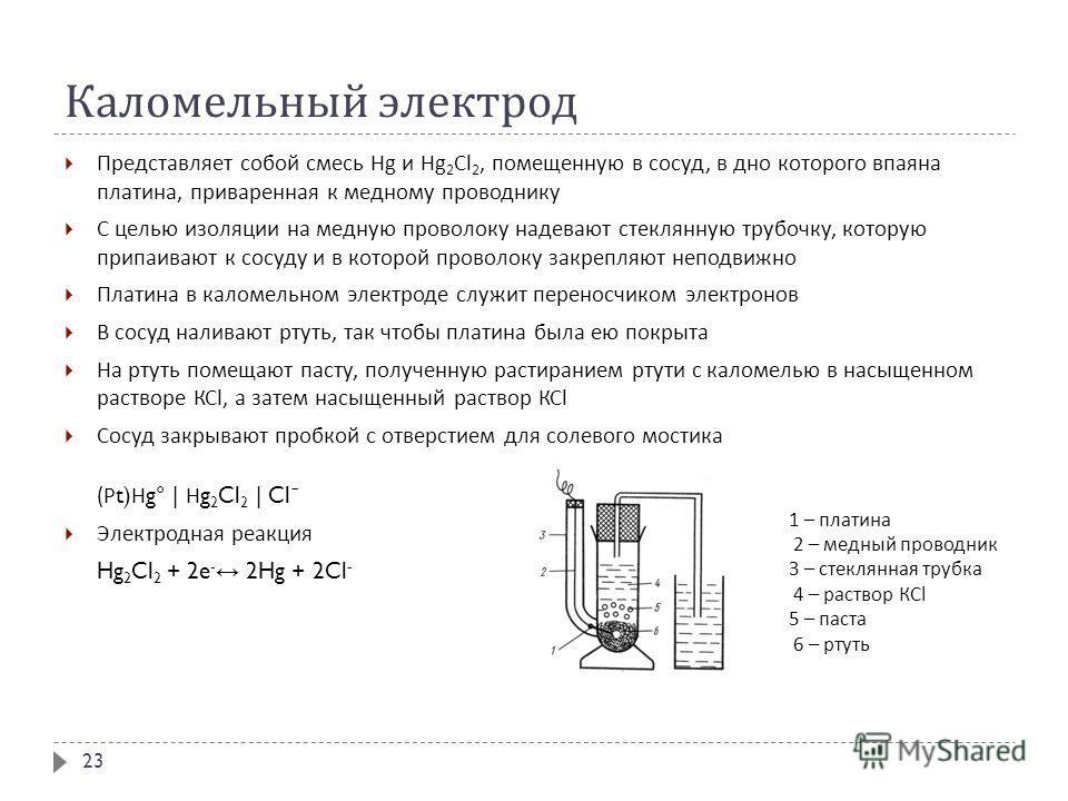 Каломельный электрод Представляет собой смесь Н g и Н g 2 С l 2, помещенную в сосуд, в дно которого впаяна платина, приваренная к медному проводнику С целью изоляции на медную проволоку надевают стеклянную трубочку, которую припаивают к сосуду и в ко