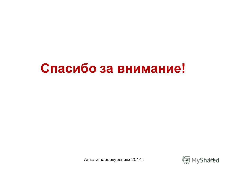 Анкета первокурсника 2014 г.24 Спасибо за внимание!
