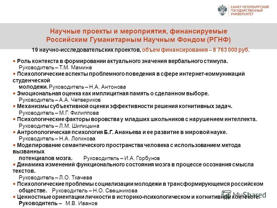 Научные проекты и мероприятия, финансируемые Российским Гуманитарным Научным Фондом (РГНФ) 19 научно-исследовательских проектов, объем финансирования – 8 763 000 руб. Роль контекста в формировании актуального значения вербального стимула. Руководител