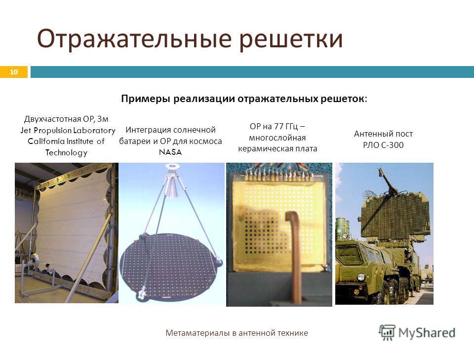 Отражательные решетки Метаматериалы в антенной технике 10 Примеры реализации отражательных решеток: Двухчастотная ОР, 3 м Jet Propulsion Laboratory California Institute of Technology Интеграция солнечной батареи и ОР для космоса NASA ОР на 77 ГГц – м