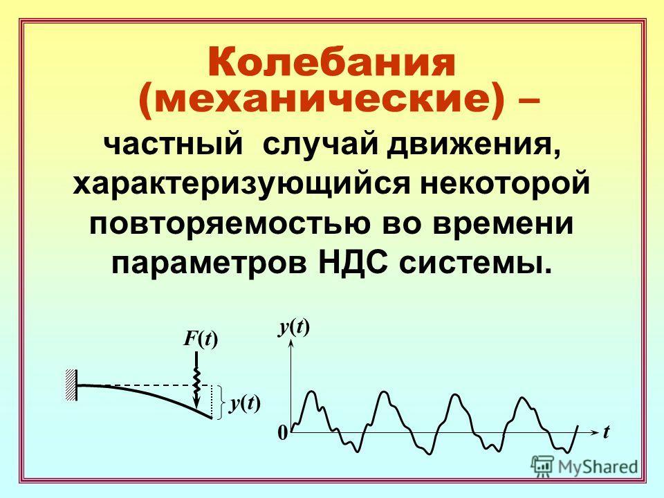 Колебания (механические) – частный случай движения, характеризующийся некоторой повторяемостью во времени параметров НДС системы. F(t)F(t) y(t)y(t) y(t)y(t) t 0