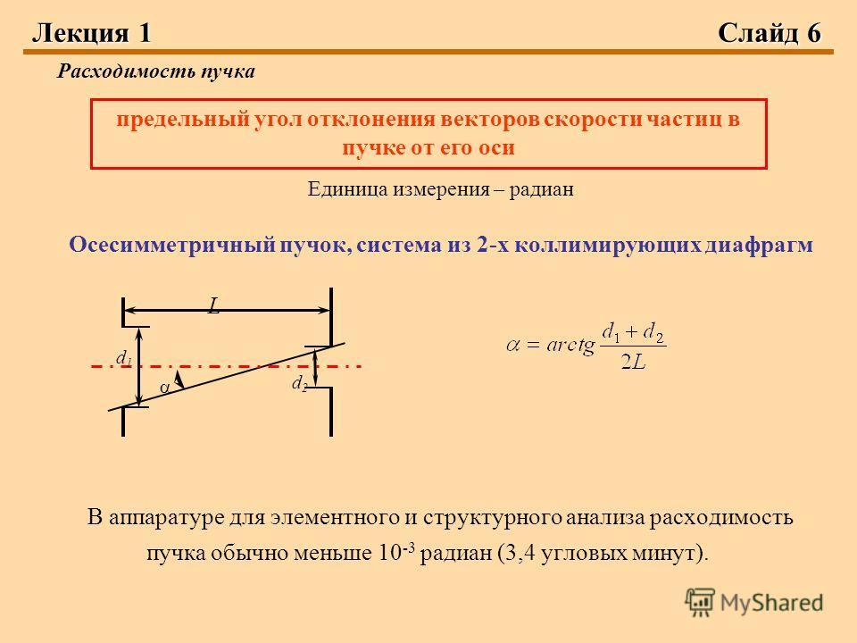 Лекция 1Слайд 6 Расходимость пучка Единица измерения – радиан Осесимметричный пучок, система из 2-х коллимирующих диафрагм В аппаратуре для элементного и структурного анализа расходимость пучка обычно меньше 10 -3 радиан (3,4 угловых минут). предельн