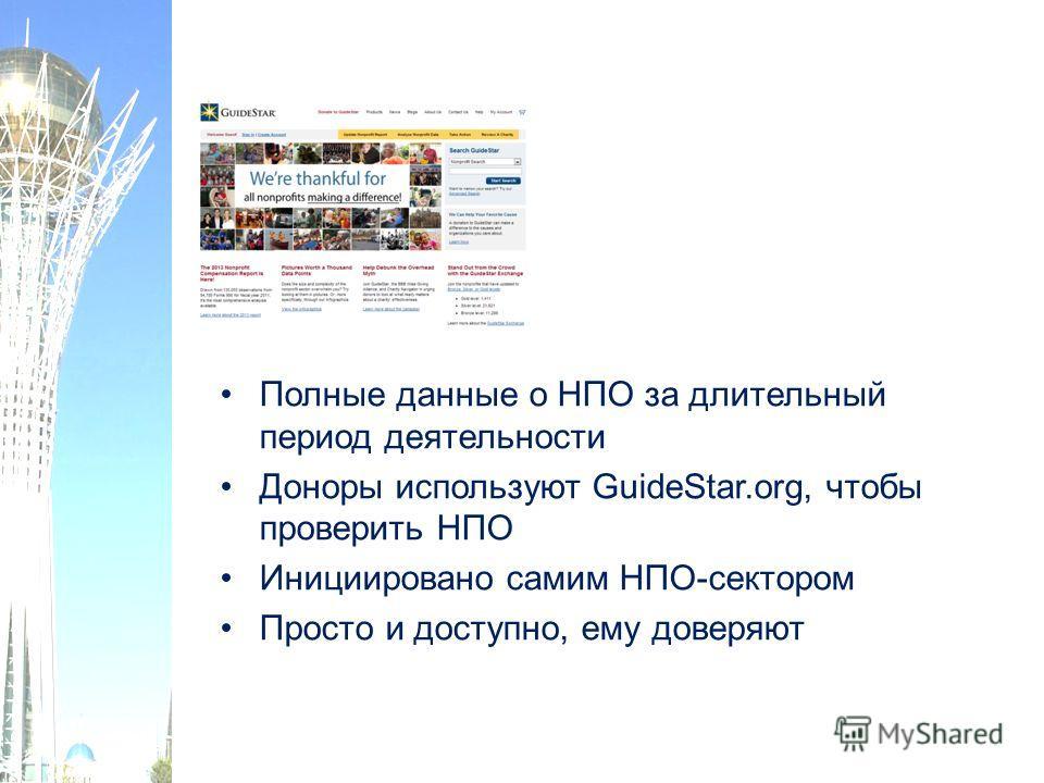 Полные данные о НПО за длительный период деятельности Доноры используют GuideStar.org, чтобы проверить НПО Инициировано самим НПО-сектором Просто и доступно, ему доверяют