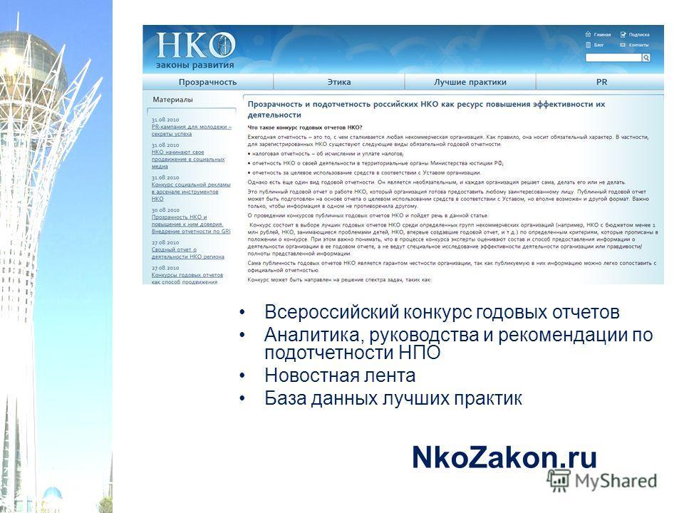 NkoZakon.ru Всероссийский конкурс годовых отчетов Аналитика, руководства и рекомендации по подотчетности НПО Новостная лента База данных лучших практик