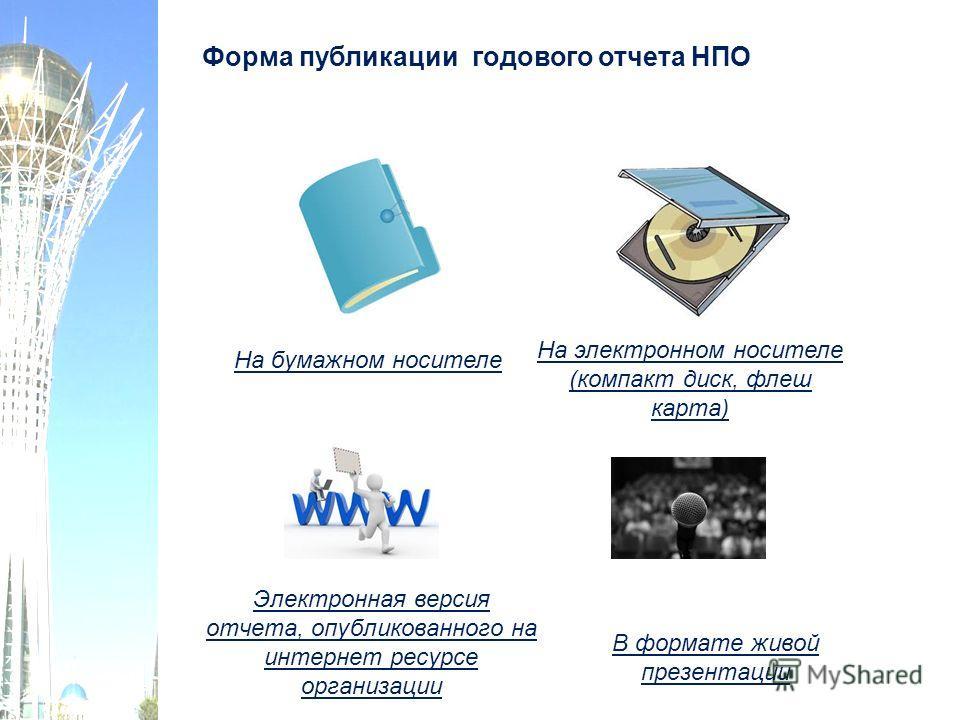 Форма публикации годового отчета НПО На бумажном носителе На электронном носителе (компакт диск, флеш карта) Электронная версия отчета, опубликованного на интернет ресурсе организации В формате живой презентации