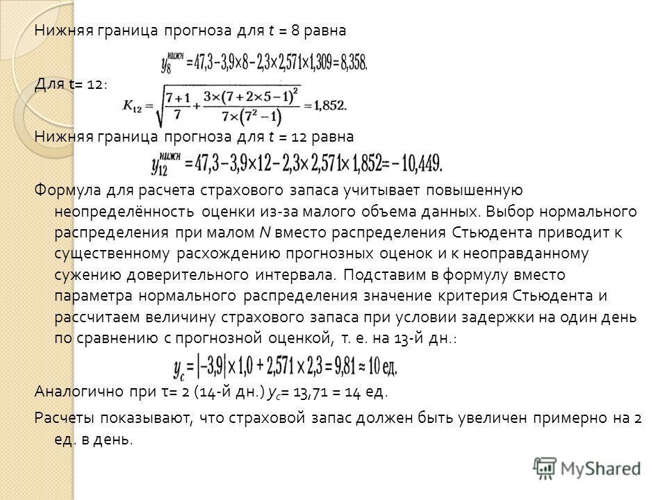 Нижняя граница прогноза для t = 8 равна Для t= 12: Нижняя граница прогноза для t = 12 равна Формула для расчета страхового запаса учитывает повышенную неопределённость оценки из - за малого объема данных. Выбор нормального распределения при малом N в
