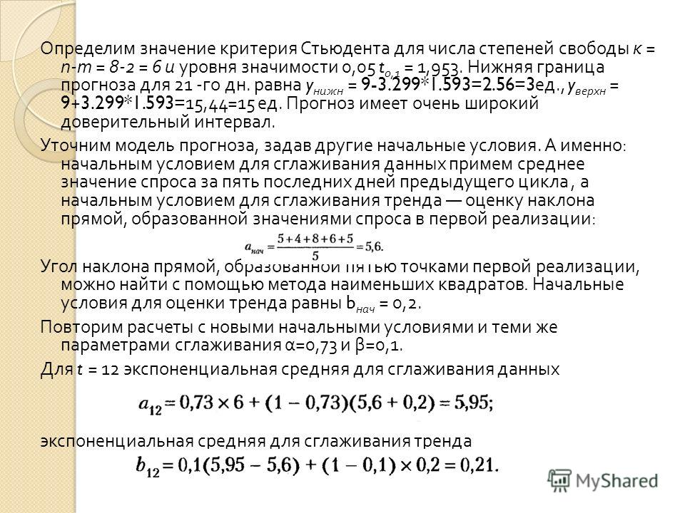 Определим значение критерия Стьюдента для числа степеней свободы к = п - т = 8-2 = 6 и уровня значимости 0,05 t 0,1 = 1,953. Нижняя граница прогноза для 21 - го дн. равна y нижн = 9-3.299*1.593=2.56=3 ед., y верхн = 9+3.299*1.593=15,44=15 ед. Прогноз