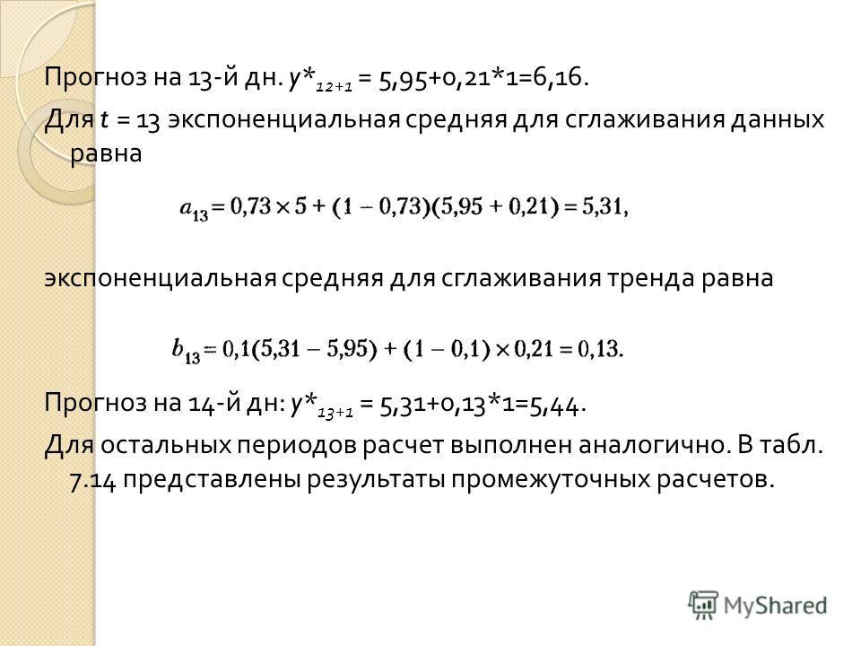 Прогноз на 13- й дн. y* 12+1 = 5,95+0,21*1=6,16. Для t = 13 экспоненциальная средняя для сглаживания данных равна экспоненциальная средняя для сглаживания тренда равна Прогноз на 14- й дн : y* 13+1 = 5,31+0,13*1=5,44. Для остальных периодов расчет вы