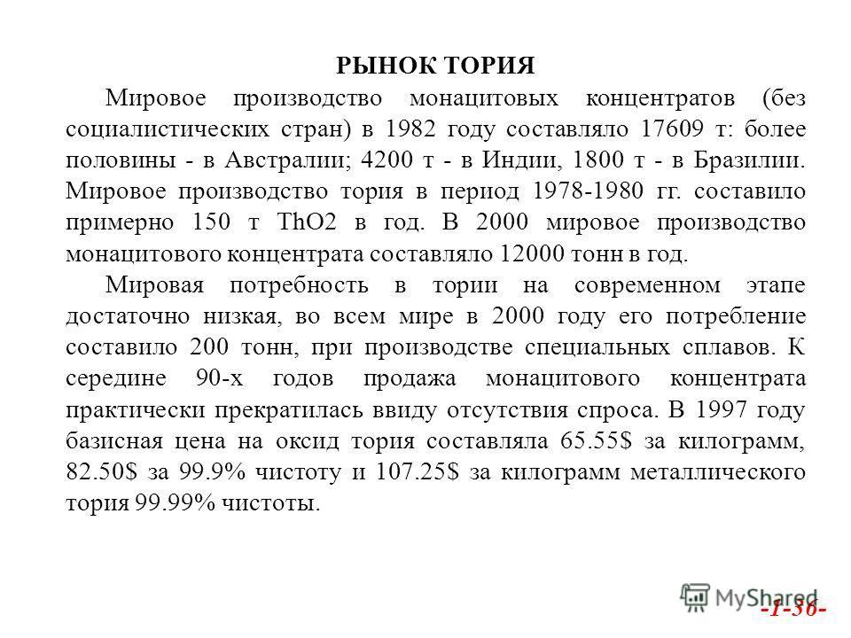 РЫНОК ТОРИЯ Мировое производство монацитовых концентратов (без социалистических стран) в 1982 году составляло 17609 т: более половины - в Австралии; 4200 т - в Индии, 1800 т - в Бразилии. Мировое производство тория в период 1978-1980 гг. составило пр