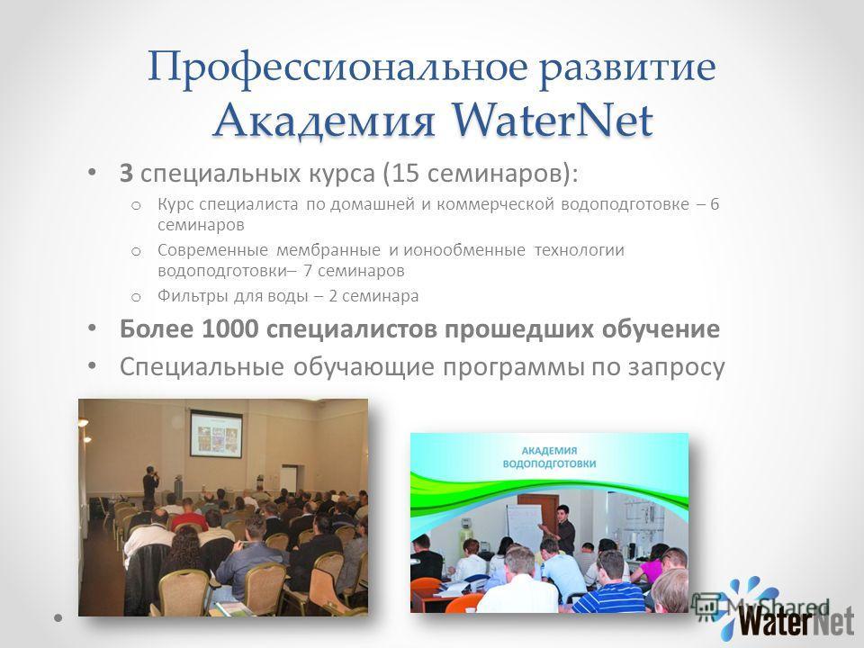 Академия WaterNet Профессиональное развитие Академия WaterNet 3 специальных курса (15 семинаров): o Курс специалиста по домашней и коммерческой водоподготовке – 6 семинаров o Современные мембранные и ионообменные технологии водоподготовки– 7 семинаро