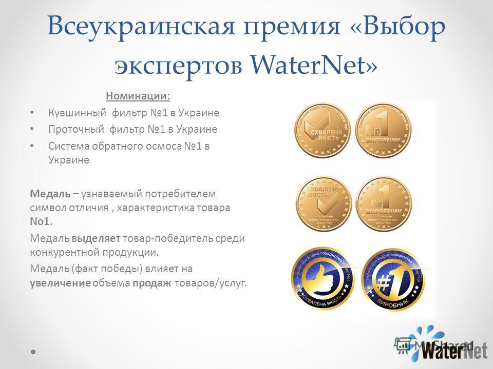 Всеукраинская премия «Выбор экспертов WaterNet» Номинации: Кувшинный фильтр 1 в Украине Проточный фильтр 1 в Украине Система обратного осмоса 1 в Украине Медаль – узнаваемый потребителем символ отличия, характеристика товара No1. Медаль выделяет това