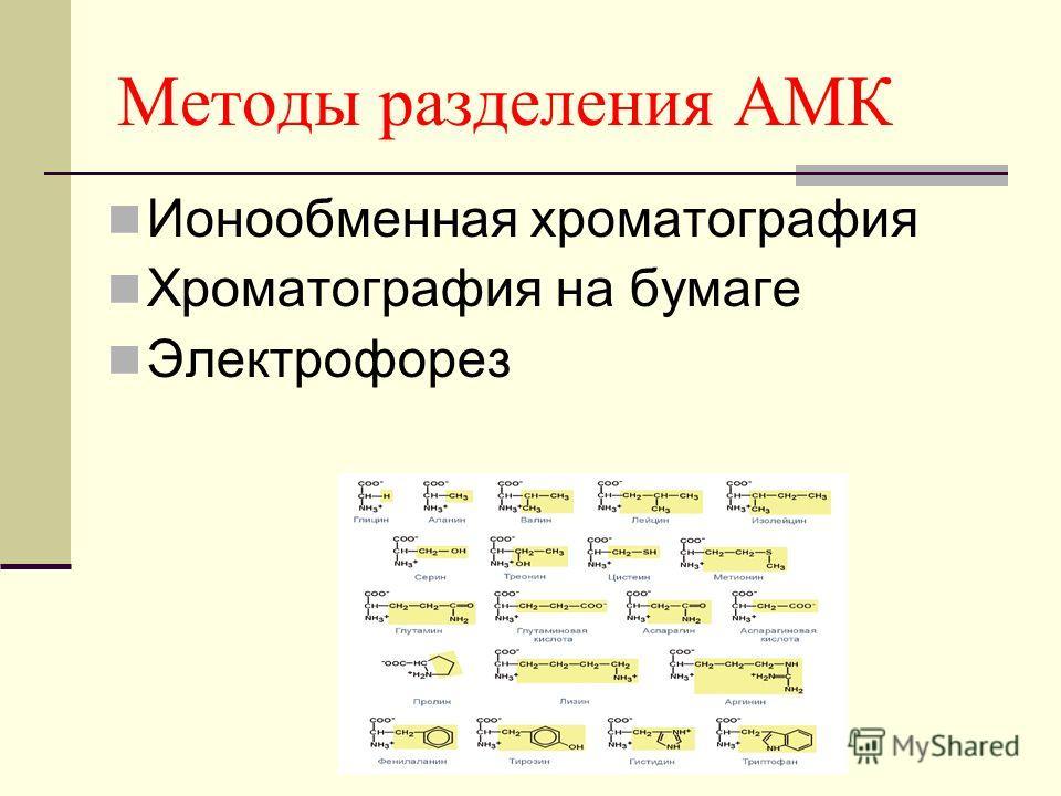 Методы разделения АМК Ионообменная хроматография Хроматография на бумаге Электрофорез