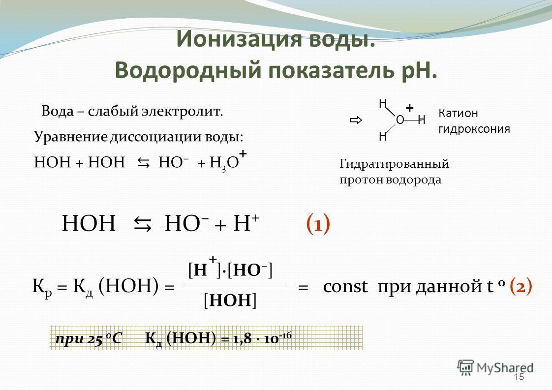 Вода – слабый электролит. Уравнение диссоциации воды: HOH + HOH НО + Н 3 О 15 + Катион гидроксония Н Н Н О + Гидратированный протон водорода HOH НО + Н + (1) К р = К д (НОН) = = const при данной t 0 (2) [Н ]·[НО] + [НОН] при 25 0 С К д (НОН) = 1,8 ·