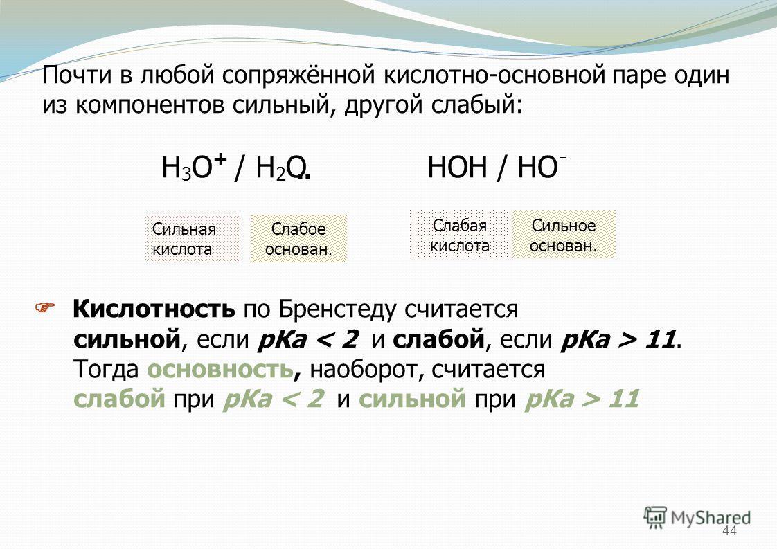 44 Почти в любой сопряжённой кислотно-основной паре один из компонентов сильный, другой слабый: Н 3 О + / Н 2 О НОН / НО ¯.. Сильная кислота Слабое основан. Слабая кислота Сильное основан. Кислотность по Бренстеду считается сильной, если р Ка 11. Тог