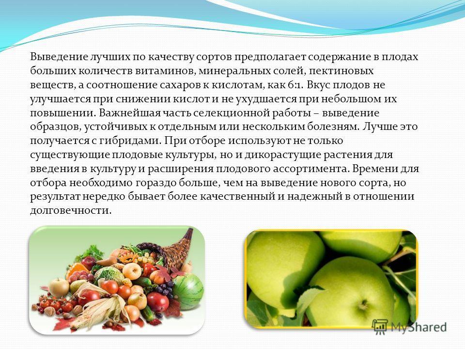 Выведение лучших по качеству сортов предполагает содержание в плодах больших количеств витаминов, минеральных солей, пектиновых веществ, а соотношение сахаров к кислотам, как 6:1. Вкус плодов не улучшается при снижении кислот и не ухудшается при небо