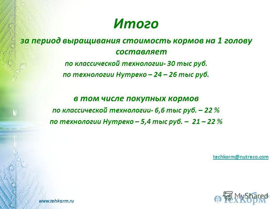 www.tehkorm.ru Итого за период выращивания стоимость кормов на 1 голову составляет по классической технологии- 30 тыс руб. по технологии Нутреко – 24 – 26 тыс руб. в том числе покупных кормов по классической технологии- 6,6 тыс руб. – 22 % по техноло