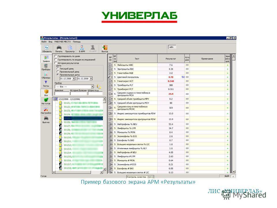 Пример базового экрана АРМ «Результаты» ЛИС «УНИВЕРЛАБ»