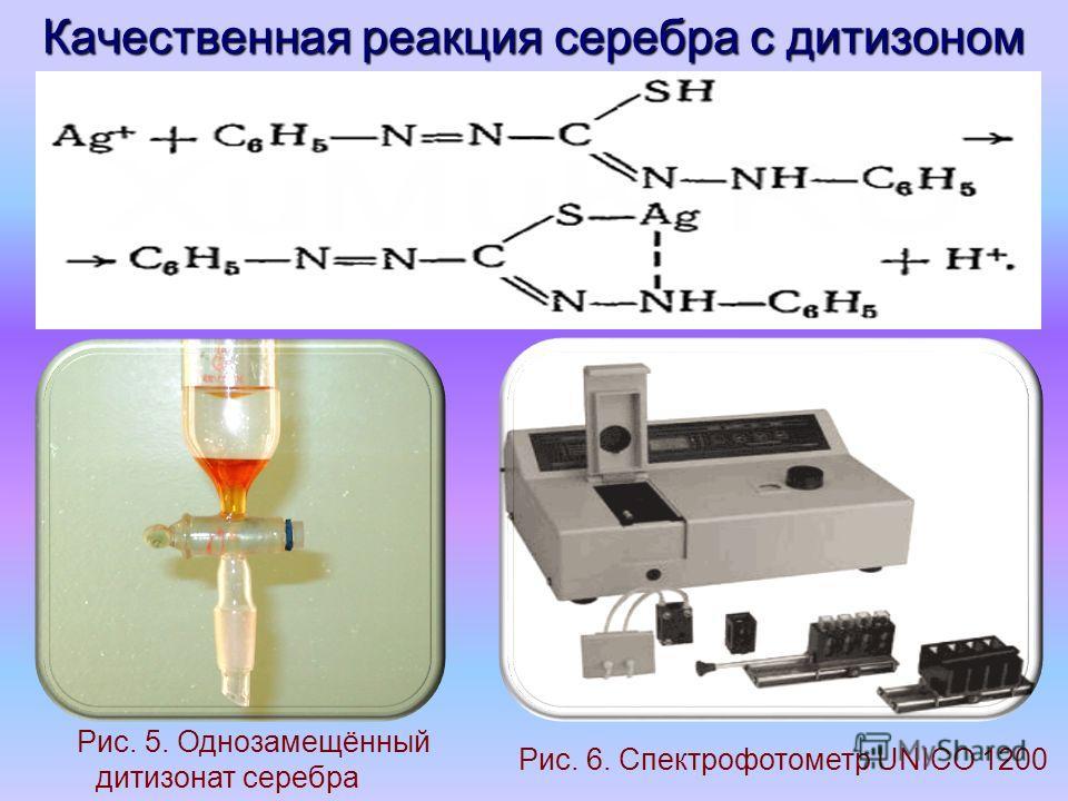 Качественная реакция серебра с дитизоном Рис. 5. Однозамещённый дитизонат серебра Рис. 6. Спектрофотометр UNICO 1200