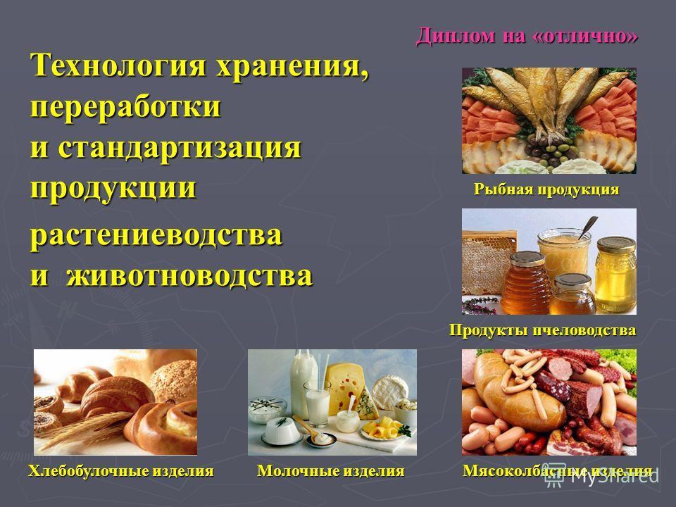 Технология хранения, переработки и стандартизация продукции растениеводства и животноводства Диплом на «отлично» Хлебобулочныеизделия Хлебобулочные изделия Мясоколбасные изделия Молочныеизделия Молочные изделия Продукты пчеловодства Рыбная продукция