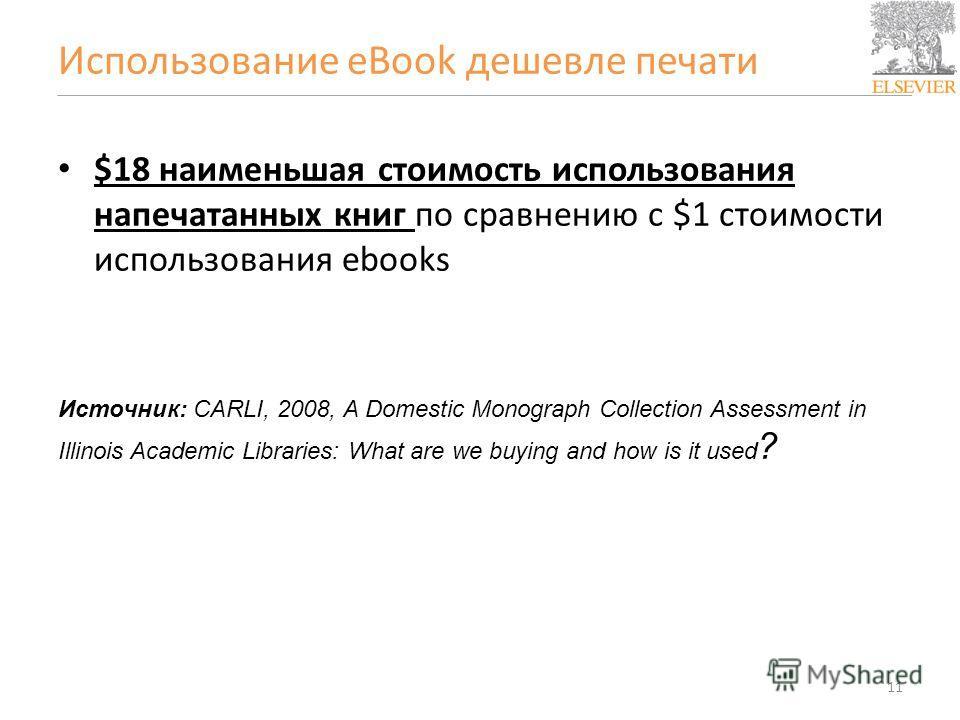 Использование eBook дешевле печати $18 наименьшая стоимость использования напечатанных книг по сравнению с $1 стоимости использования ebooks Источник: CARLI, 2008, A Domestic Monograph Collection Assessment in Illinois Academic Libraries: What are we