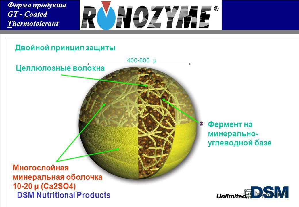 DSM Nutritional Products Форма продукта GT - Coated Thermotolerant Двойной принцип защиты Многослойная минеральная оболочка 10-20 µ (Ca2SO4) Фермент на минерально- углеводной базе Целлюлозные волокна 400-600 µ