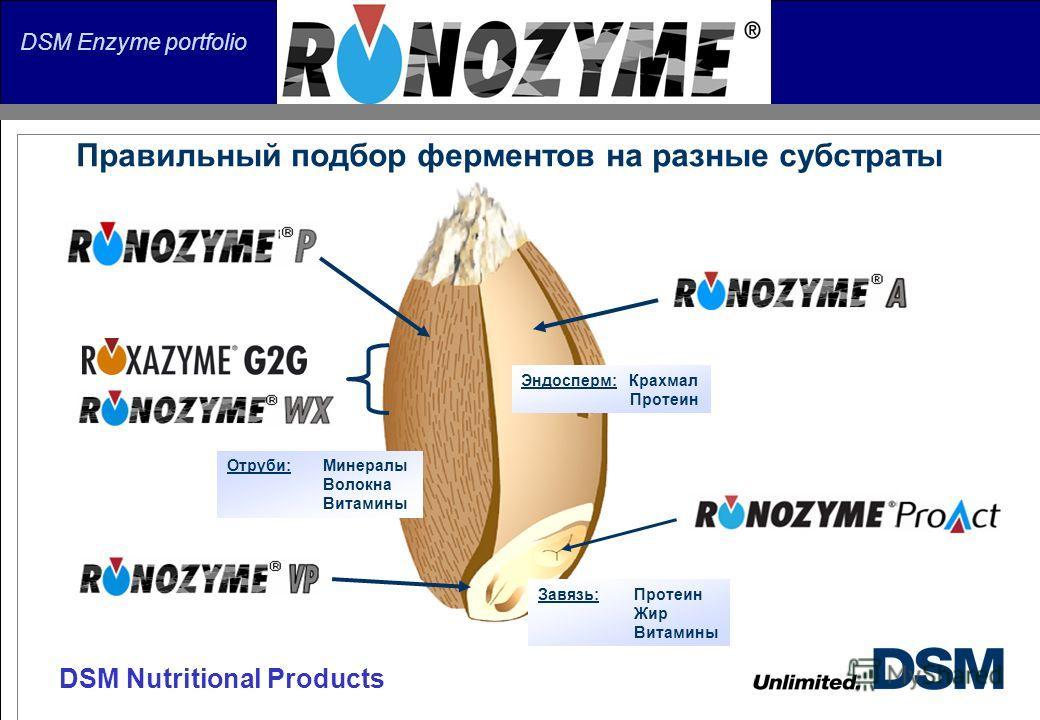 DSM Nutritional Products DSM Enzyme portfolio Отруби:Минералы Волокна Витамины Эндосперм: Крахмал Протеин Завязь:Протеин Жир Витамины Правильный подбор ферментов на разные субстраты
