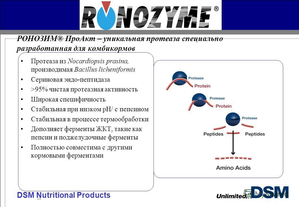 DSM Nutritional Products 26 Протеаза из Nocardiopsis prasina, производимая Bacillus licheniformis Сериновая эндо-пептидаза >95% чистая протеазная активность Широкая специфичность Стабильная при низком pH/ с пепсином Стабильная в процессе термообработ