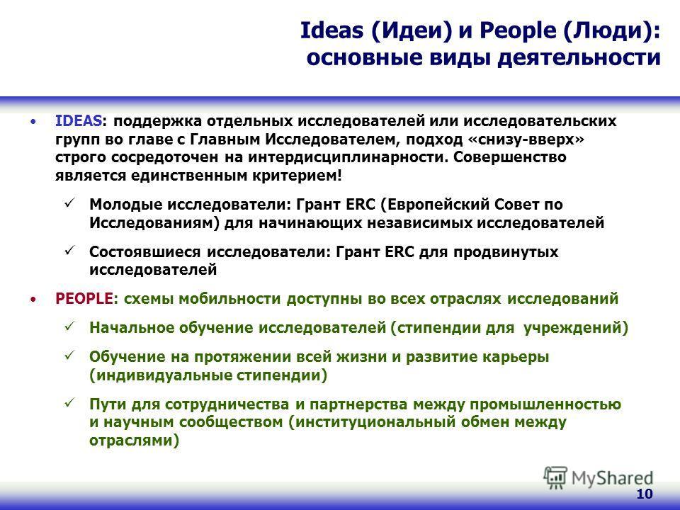 10 Ideas (Идеи) и People (Люди): основные виды деятельности IDEAS: поддержка отдельных исследователей или исследовательских групп во главе с Главным Исследователем, подход «снизу-вверх» строго сосредоточен на интердисциплинарности. Совершенство являе