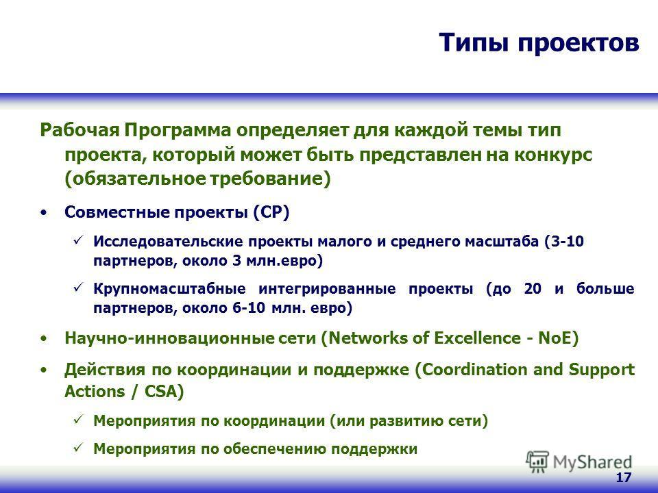 17 Типы проектов Рабочая Программа определяет для каждой темы тип проекта, который может быть представлен на конкурс (обязательное требование) Совместные проекты (CP) Исследовательские проекты малого и среднего масштаба (3-10 партнеров, около 3 млн.е