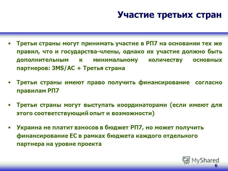 6 Участие третьих стран Третьи страны могут принимать участие в РП7 на основании тех же правил, что и государства-члены, однако их участие должно быть дополнительным к минимальному количеству основных партнеров: 3MS/AС + Третья страна Третьи страны и