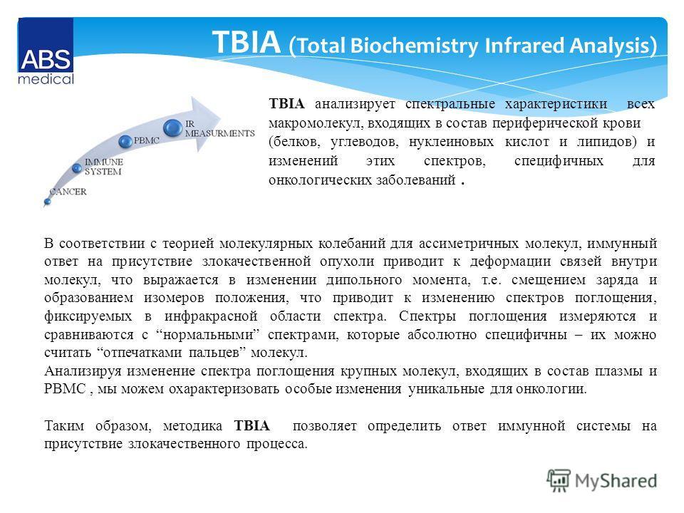 TBIA (Total Biochemistry Infrared Analysis) TBIA анализирует спектральные характеристики всех макромолекул, входящих в состав периферической крови (белков, углеводов, нуклеиновых кислот и липидов) и изменений этих спектров, специфичных для онкологиче