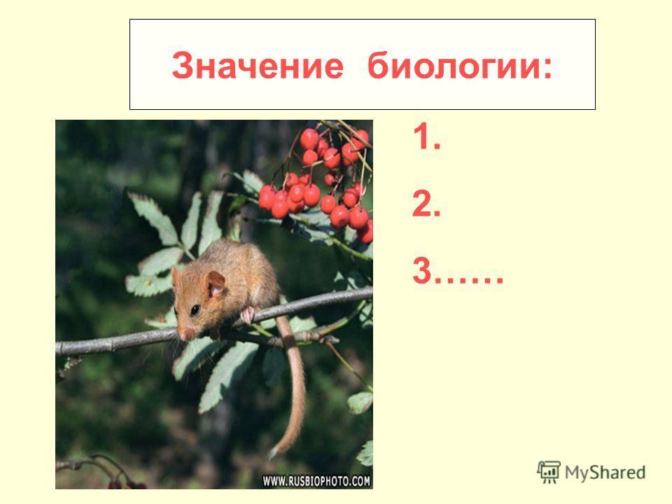 Значение биологии: 1. 2. 3……