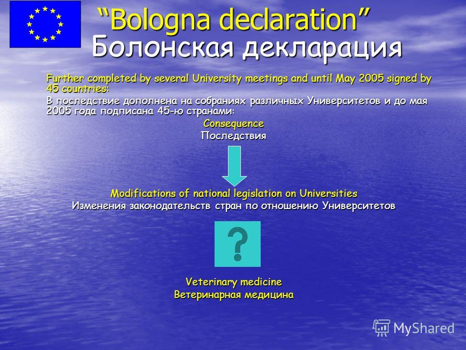 Bologna declaration Болонская декларация Further completed by several University meetings and until May 2005 signed by 45 countries: Further completed by several University meetings and until May 2005 signed by 45 countries: В последствие дополнена н