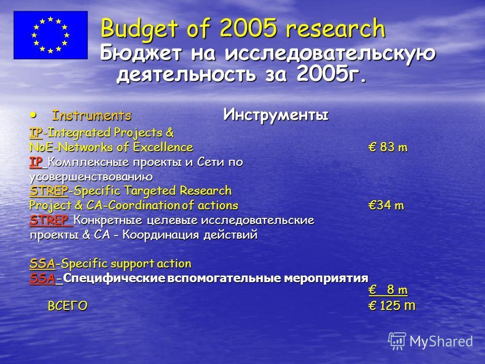 Budget of 2005 research Бюджет на исследовательскую деятельность за 2005 г. Instruments Инструменты Instruments Инструменты IP-Integrated Projects & NoE-Networks of Excellence 83 m IP Комплексные проекты и Сети по усовершенствованию STREP-Specific Ta
